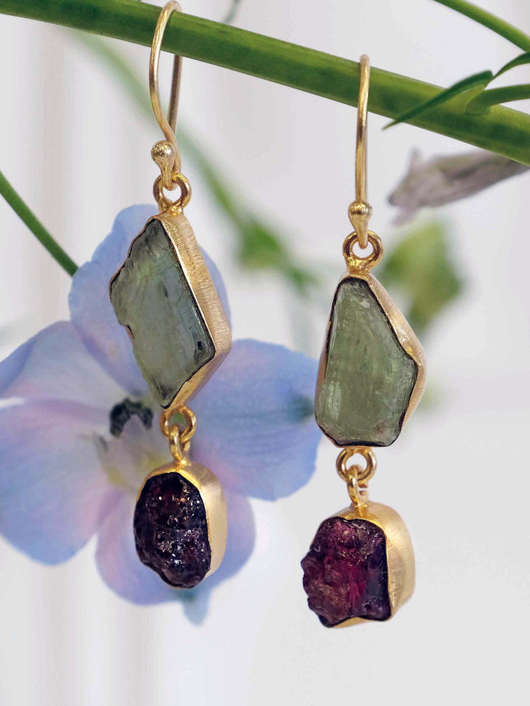 Do Stone Gold & Khaki Tone Hook Drop Earrings