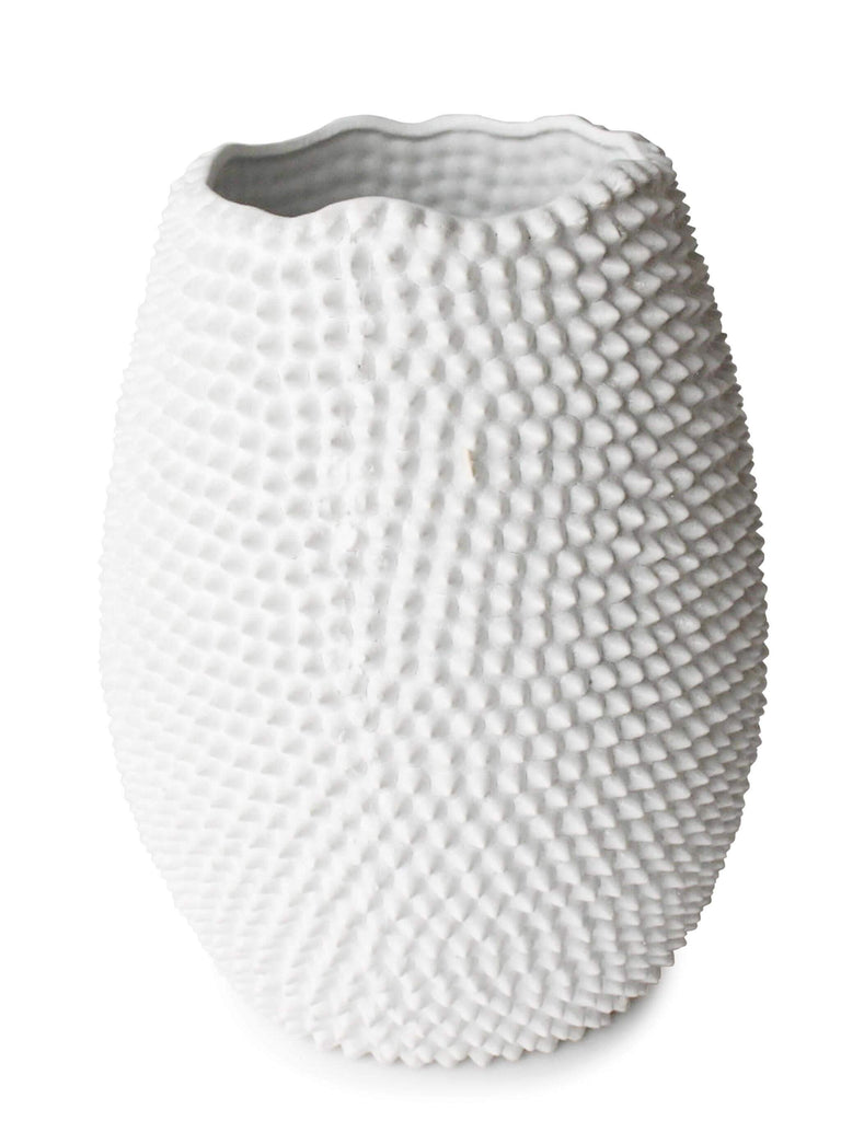 Calinda Tall Vase Glazed White Ceramic