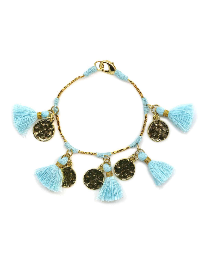 Forever Bracelet with Candy Blue Tassels by ZA Collective