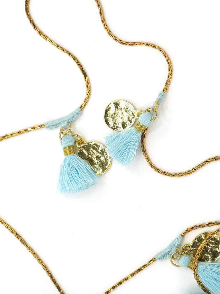 Forever Necklace with Candy Blue Tassels