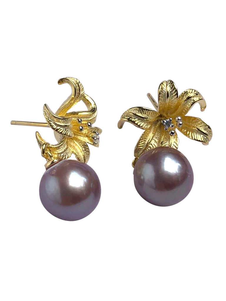 Oriental Lily 18k Gold Plated Stud Earrings with Lilac Freshwater Pearls by YU SI