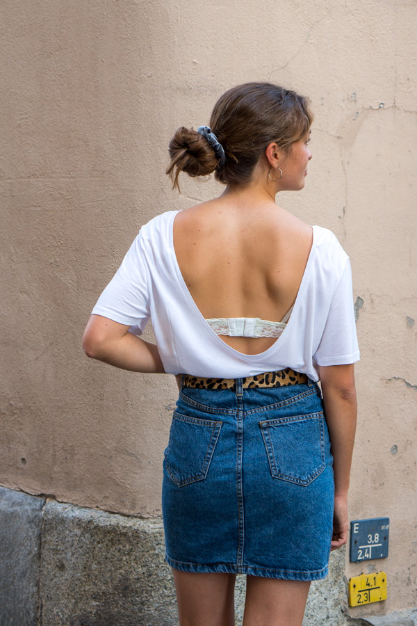 T-shirt open back blanc - NAKD vetements