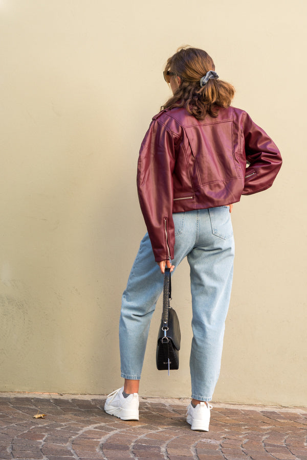Veste cuir burgundy - NAKD vetements