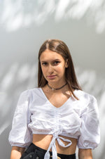 Crop top blanc chemise - NAKD vetements