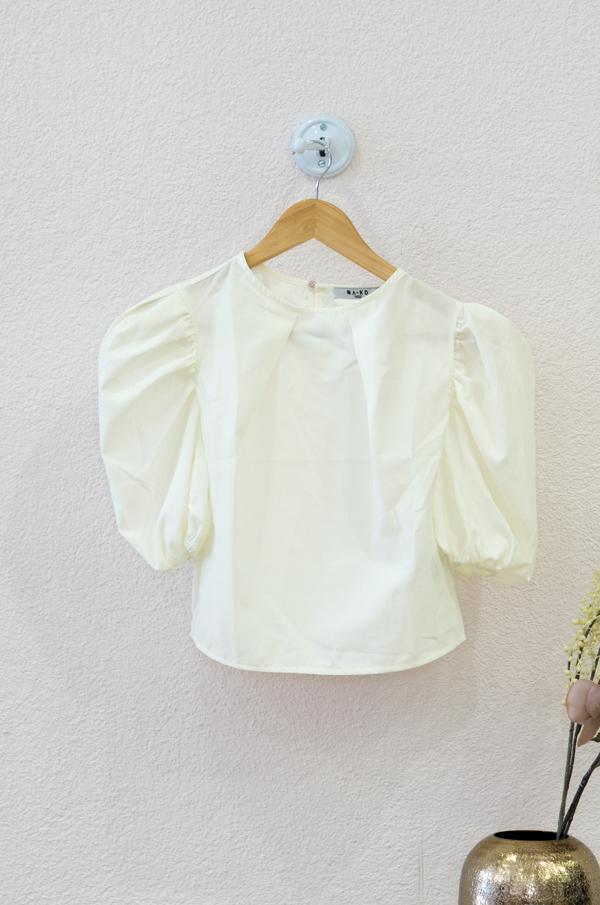 Puff Shoulder Short Sleeve Blouse
