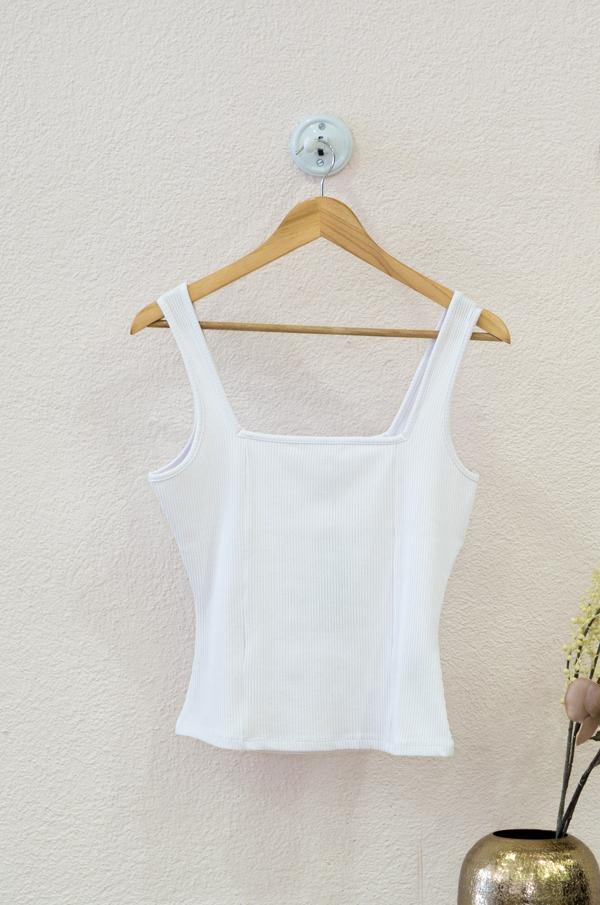 Square Neck Ribbed Singlet - Blanc