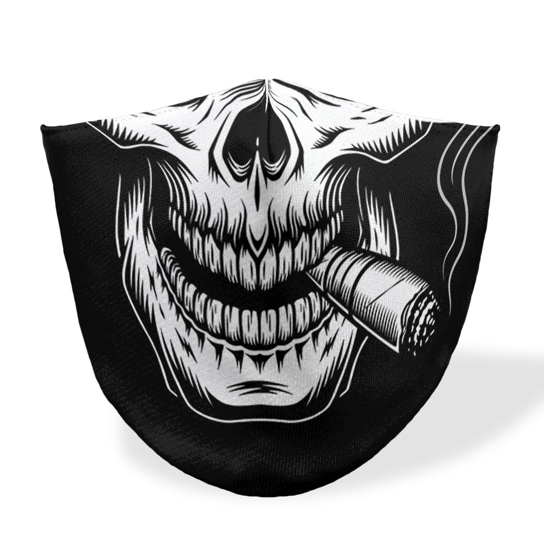 mouth mask smoking skull black