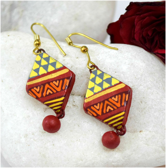 kite shaped terracotta earrings