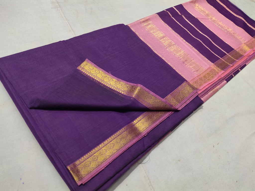 Maheshwari Blue Cotton Silk Saree with Zari Border