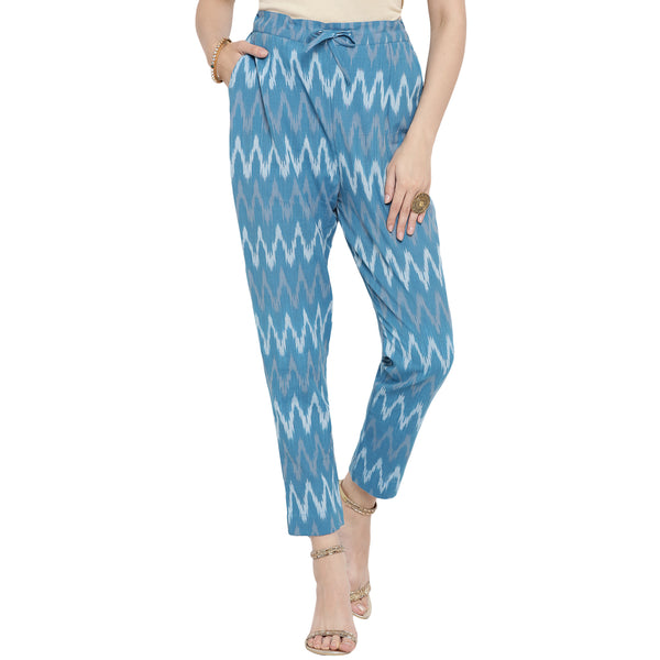 Darzaania Blue Zig Zag Ikat Handloom Cotton Trousers