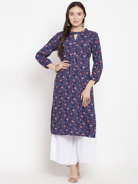 Darzaania Blue Printed High Low Viscose Kurta