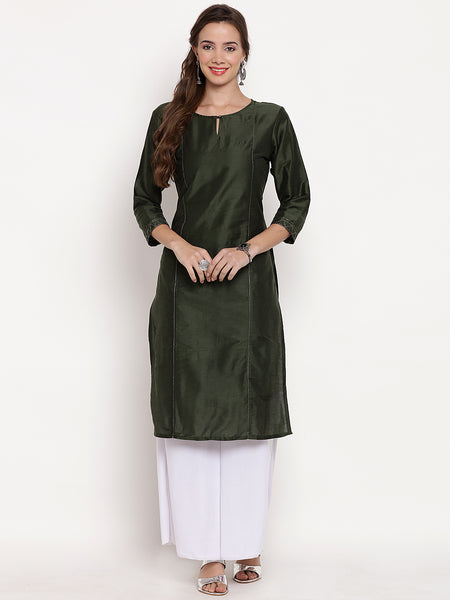 Darzaania Mehndi Green Cotton Silk Long Kurta