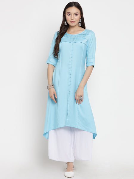 Darzaania Sky Blue Long Viscose Kurta