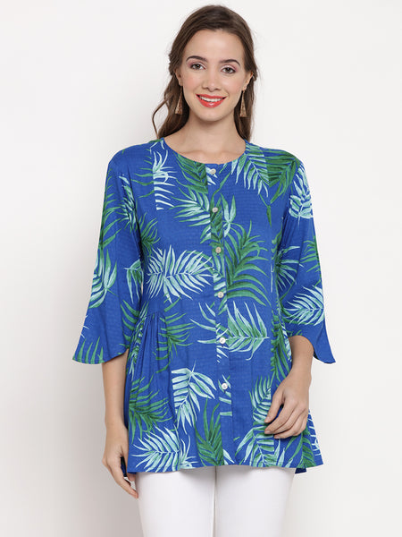 Darzaania Blue Leaf Printed Cotton Top