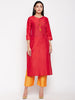 Red Cotton Silk Kurtis For Women Online