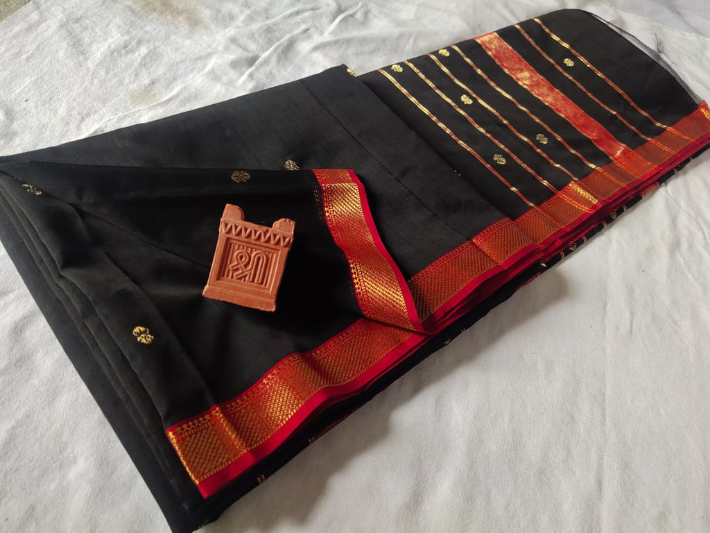 Maheshwari Cotton Silk Black Saree with Traditional Border