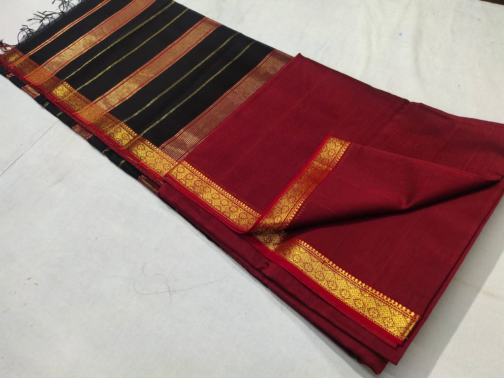 Maheshwari Maroon Red Golden Zari Border Saree