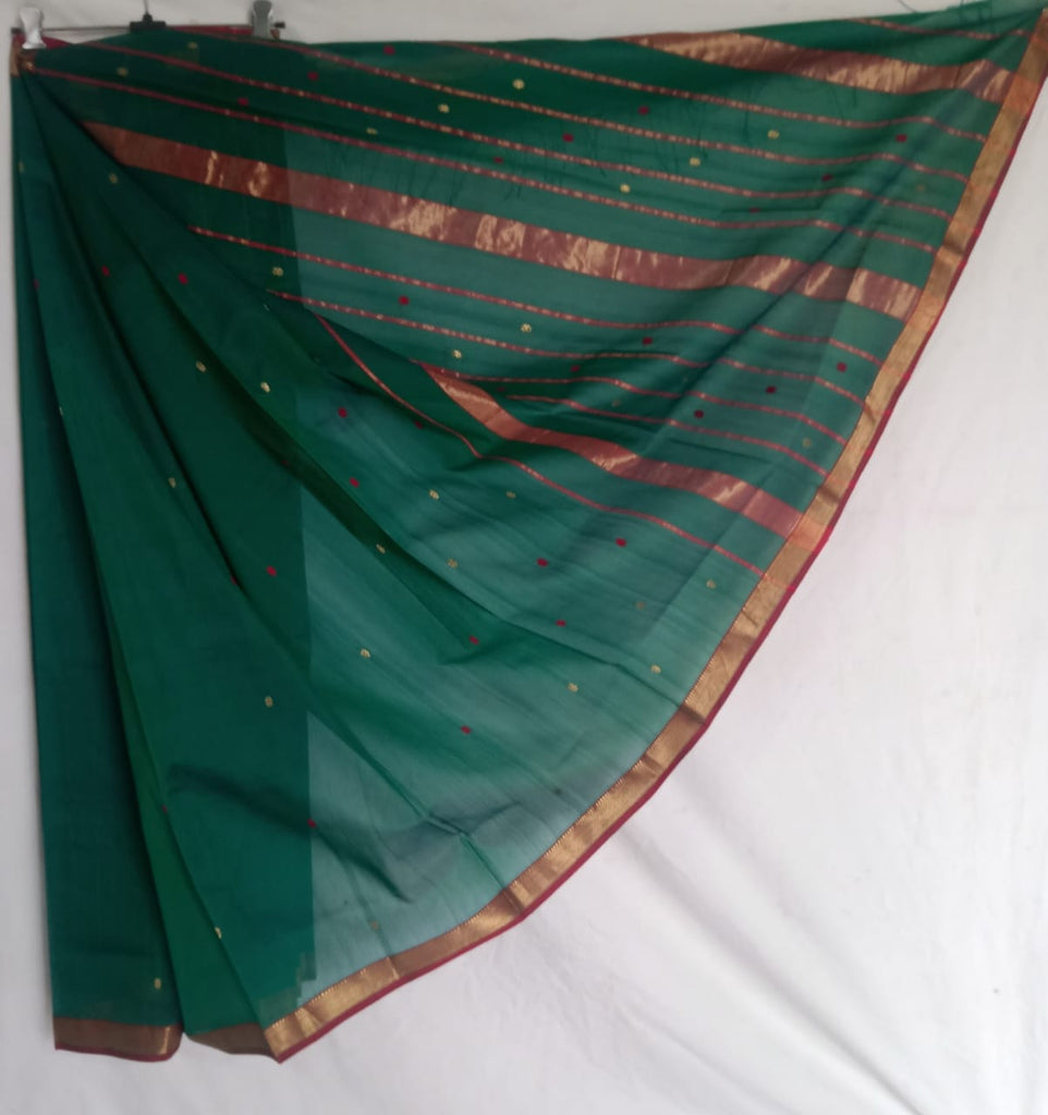 Maheshwari Cotton Silk Saree with Traditional Border