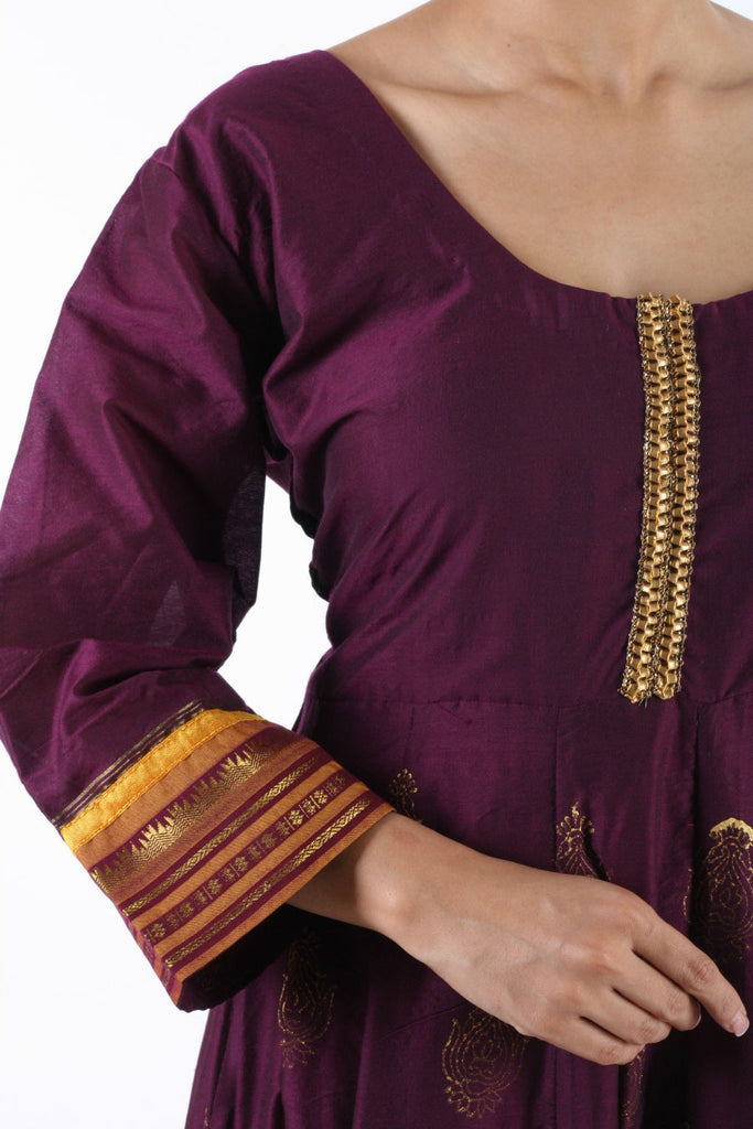Piroee Purple Phulkari Anarkali Semi Stitched Top with Dupatta