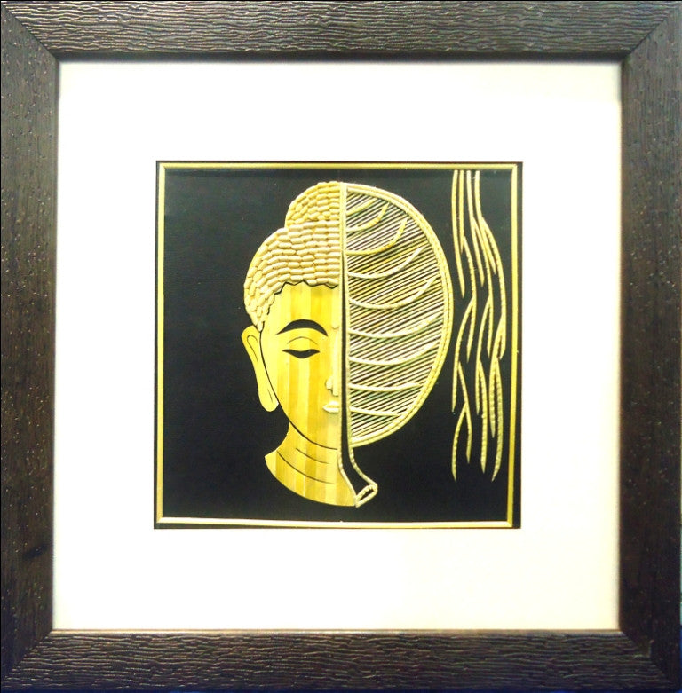 The Buddha half Banayan Leaf Face - Wall Art | CraftsandLooms.com