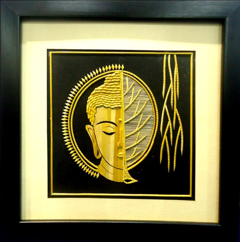 The Buddha half Chakra & Banayan Leaf Face - Wall Art ...