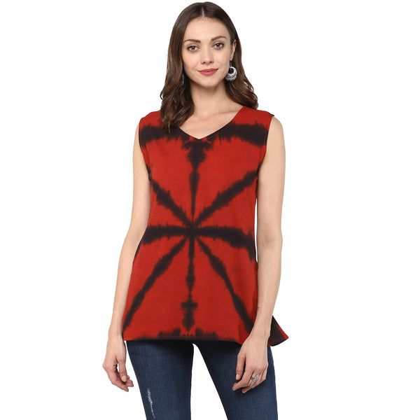 Darzaania Red Clamp Dyed Tunic Top