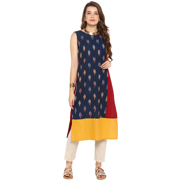 Darzaania Multicolored Ikat Cotton Kurta