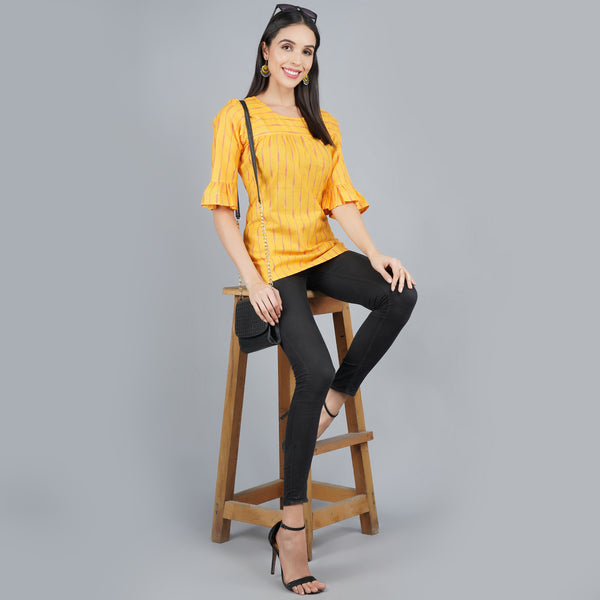 Darzaania Yellow Ikat Cotton Top