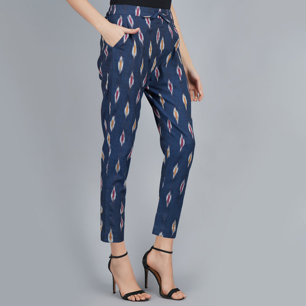 Darzaania Dark Blue Ikat Handloom Cotton Trousers