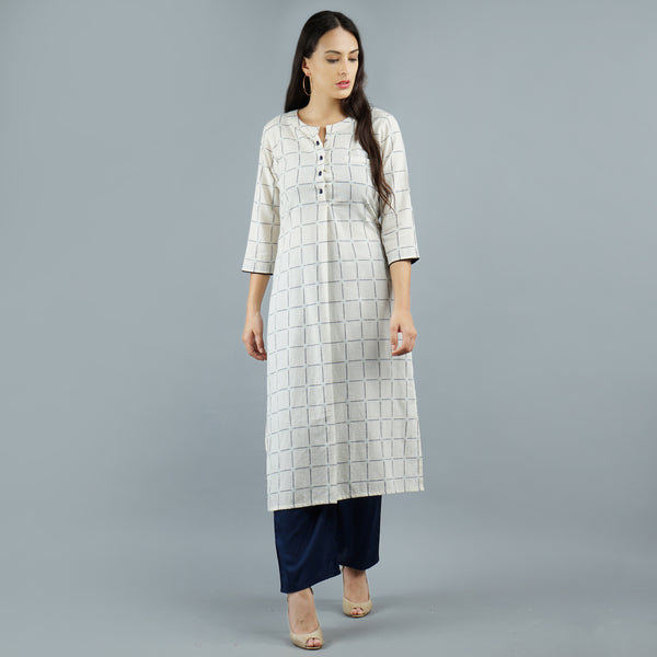 Darzaania White Check Cotton Kurta