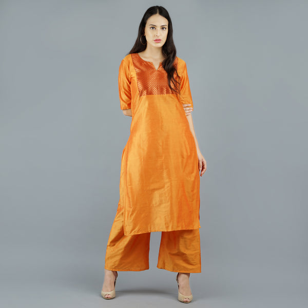 Darzaania Orange Cotton Blend Long Kurta with Palazzo Full Set