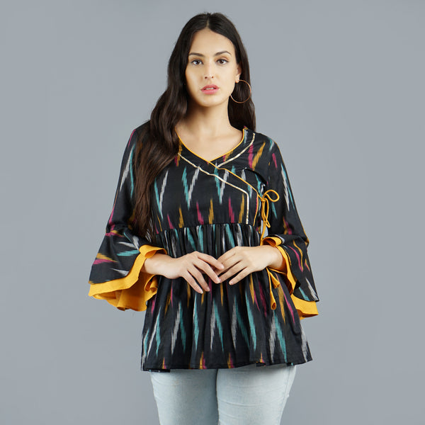 Darzaania Black Ikat Handloom Cotton Top