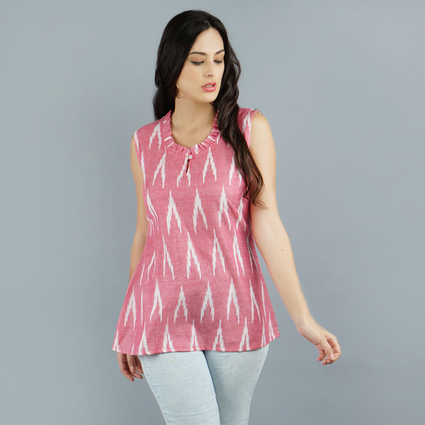 Darzaania Pink Ikat Handloom Cotton Top