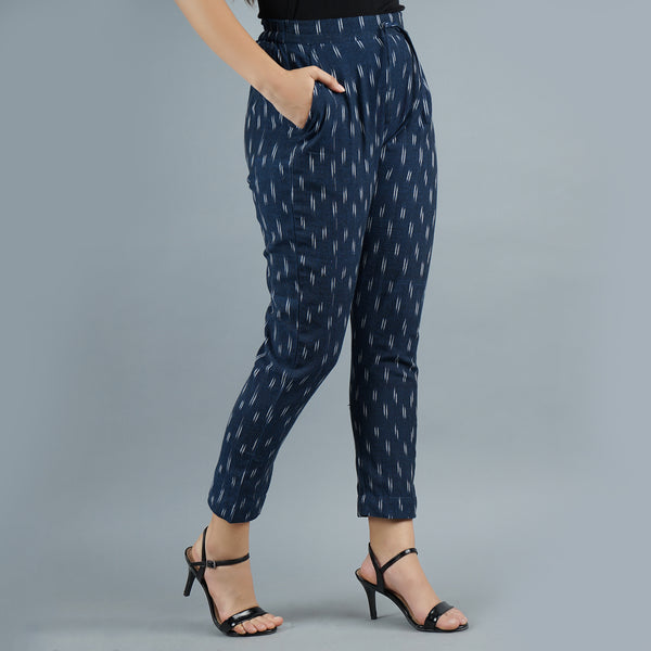 Darzaania Navy Blue Ikat Handloom Cotton Trousers
