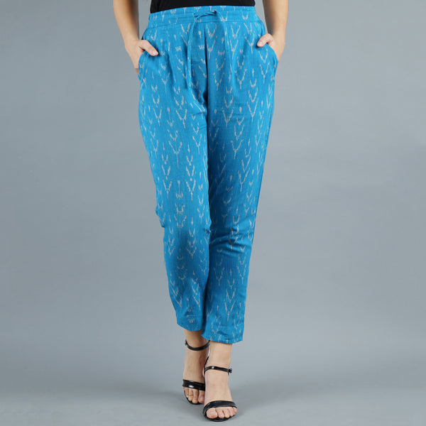 Darzaania Blue Ikat Handloom Cotton Trousers