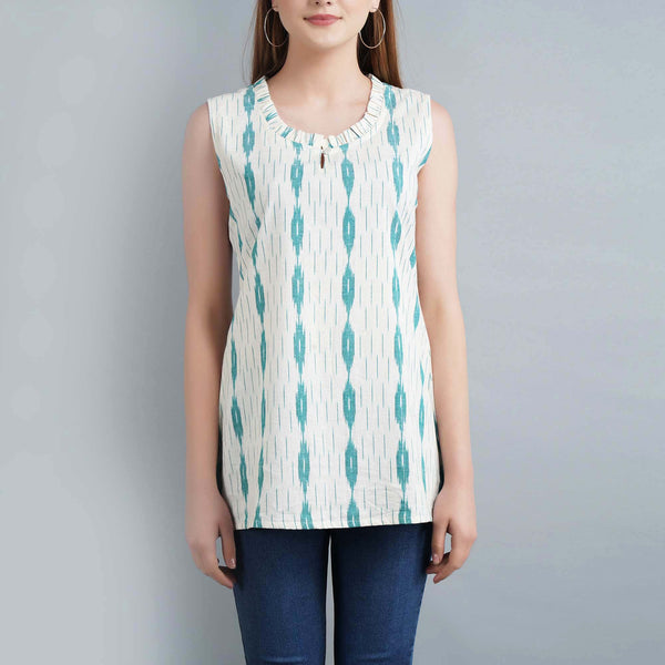 Darzaania White Ikat Sleeveless Top