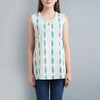 Darzaania White Ikat Cotton top for women