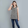 Checkered Ikat Cotton Top