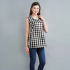 Black and White Check Ikat Cotton Top
