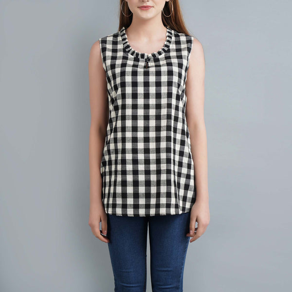 Darzaania Black and White Check Ikat Top