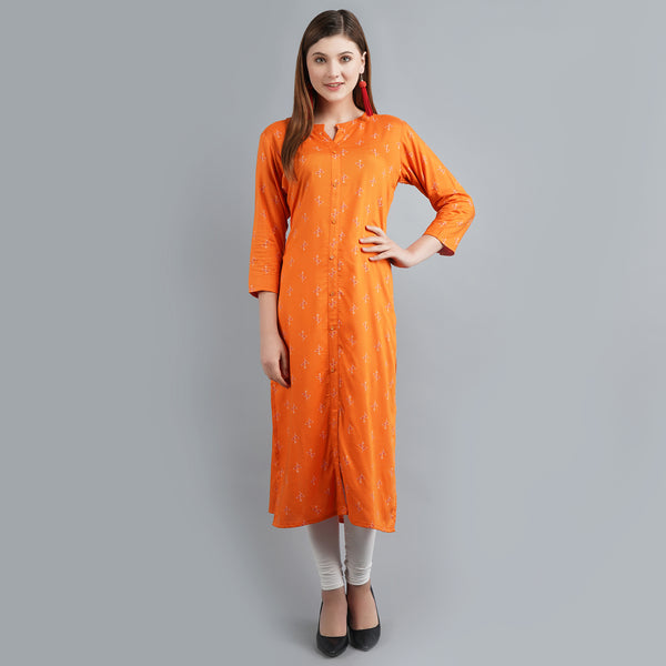 Darzaania Orange Printed Long Kurti