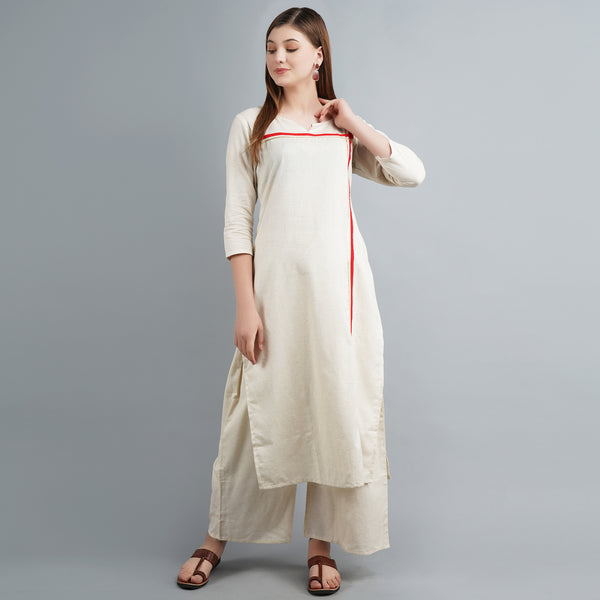 Darzaania Off-White Cotton Long Kurta
