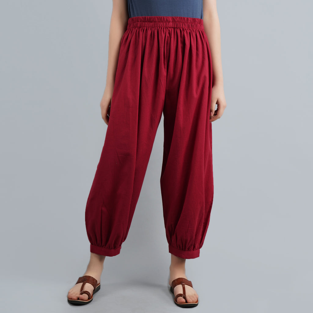Darzaania Maroon Cotton Harem Pants