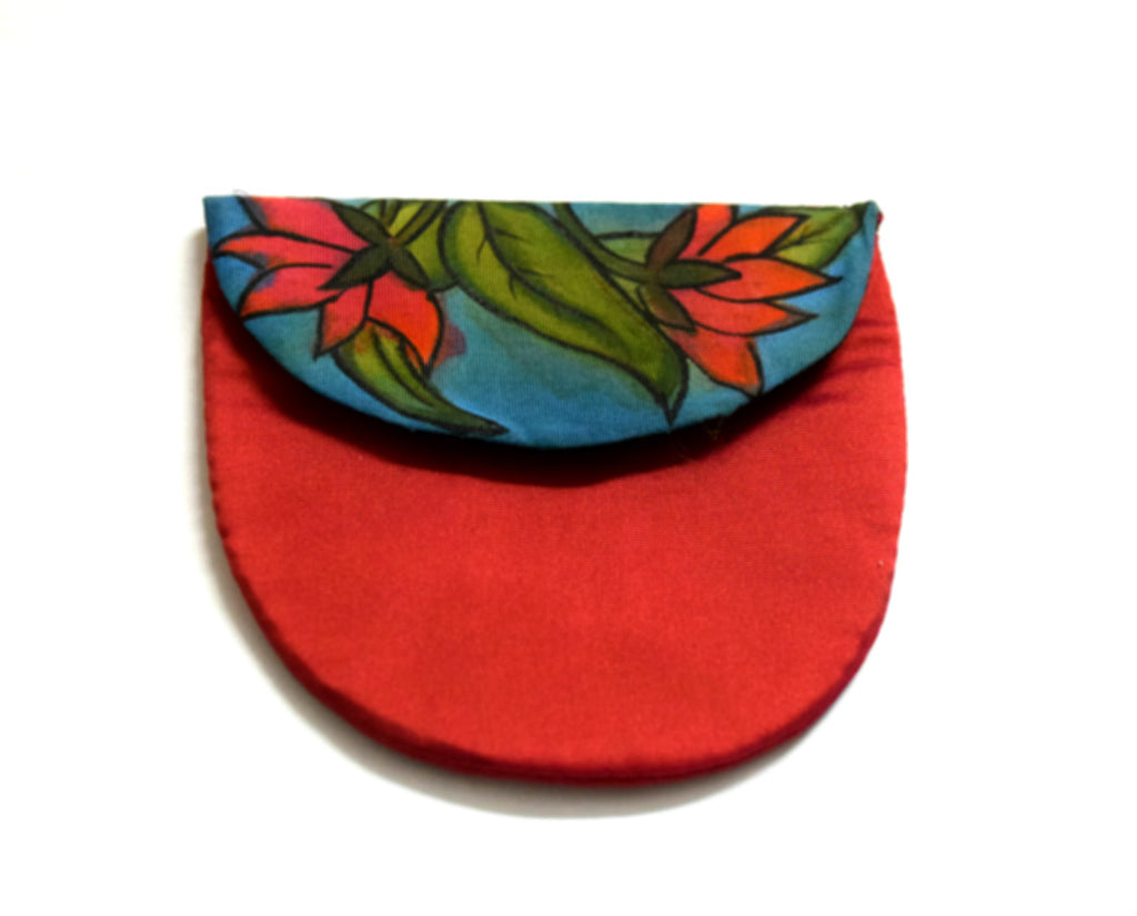 Red Silk Coin Pouch Handpainted