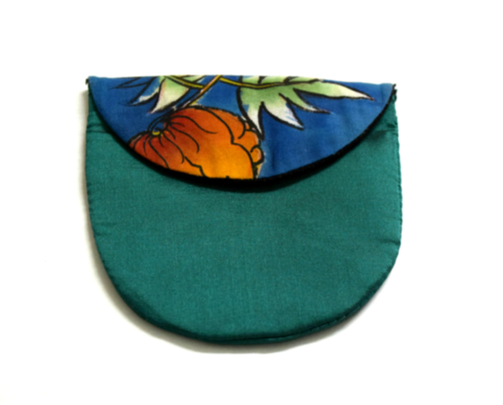 Blue Silk Coin Pouch Handpainted