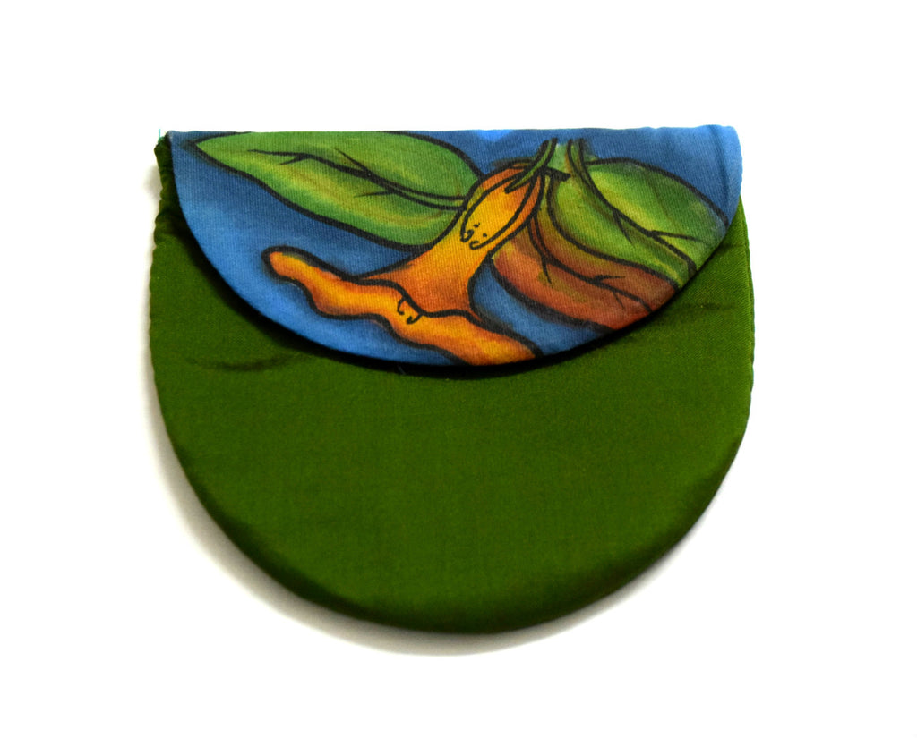 Green Silk Coin Pouch Handpainted