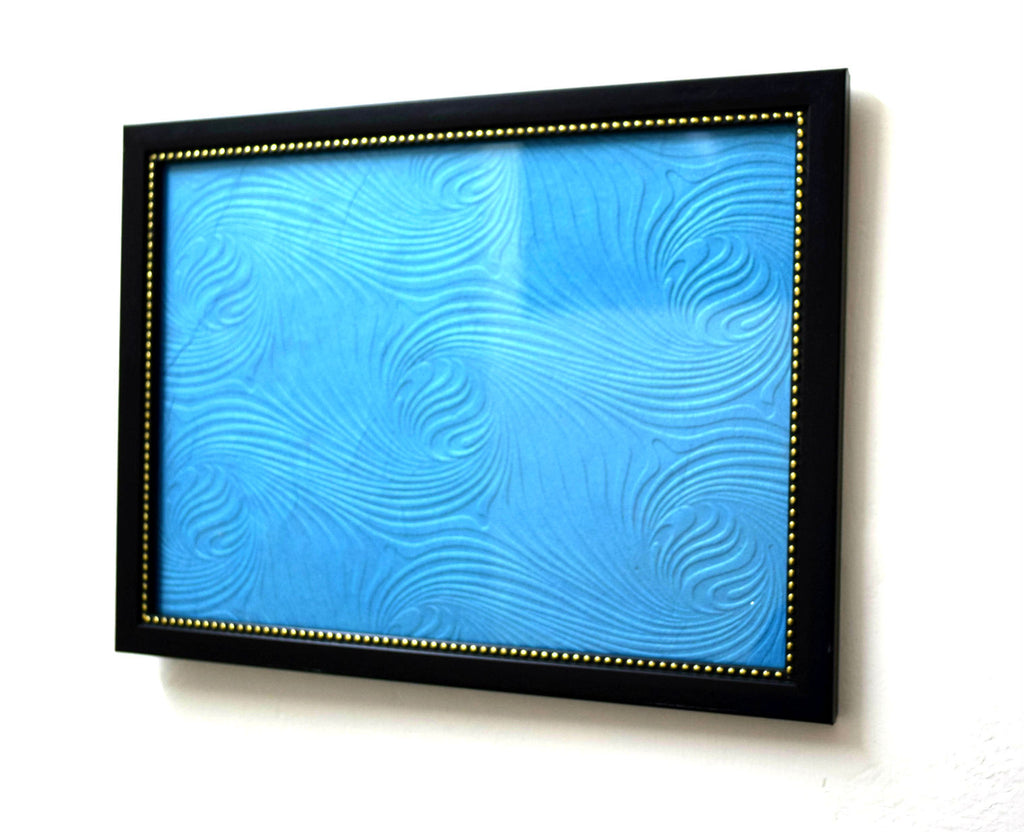 Designer Wooden Photoframe with Blue Wave Background