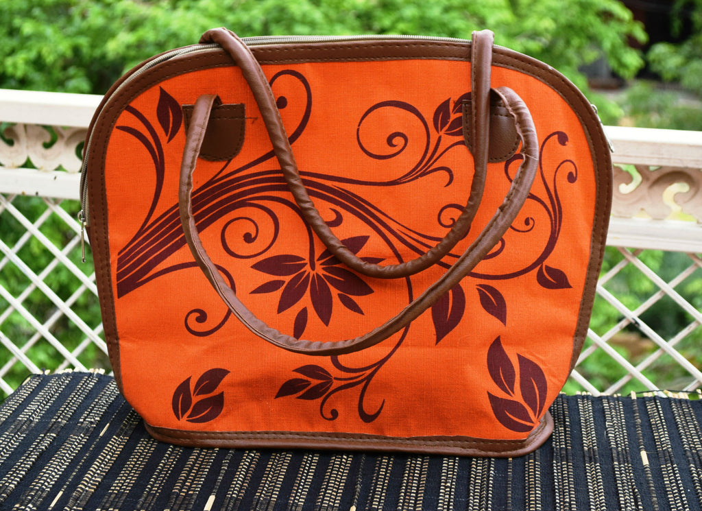 Orange Shoulder Handbag with Brown Leaves print