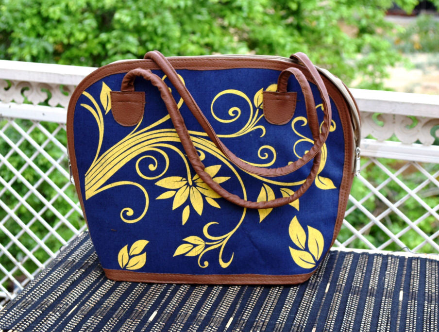 Blue Shoulder Handbag with Yellow Leaves print