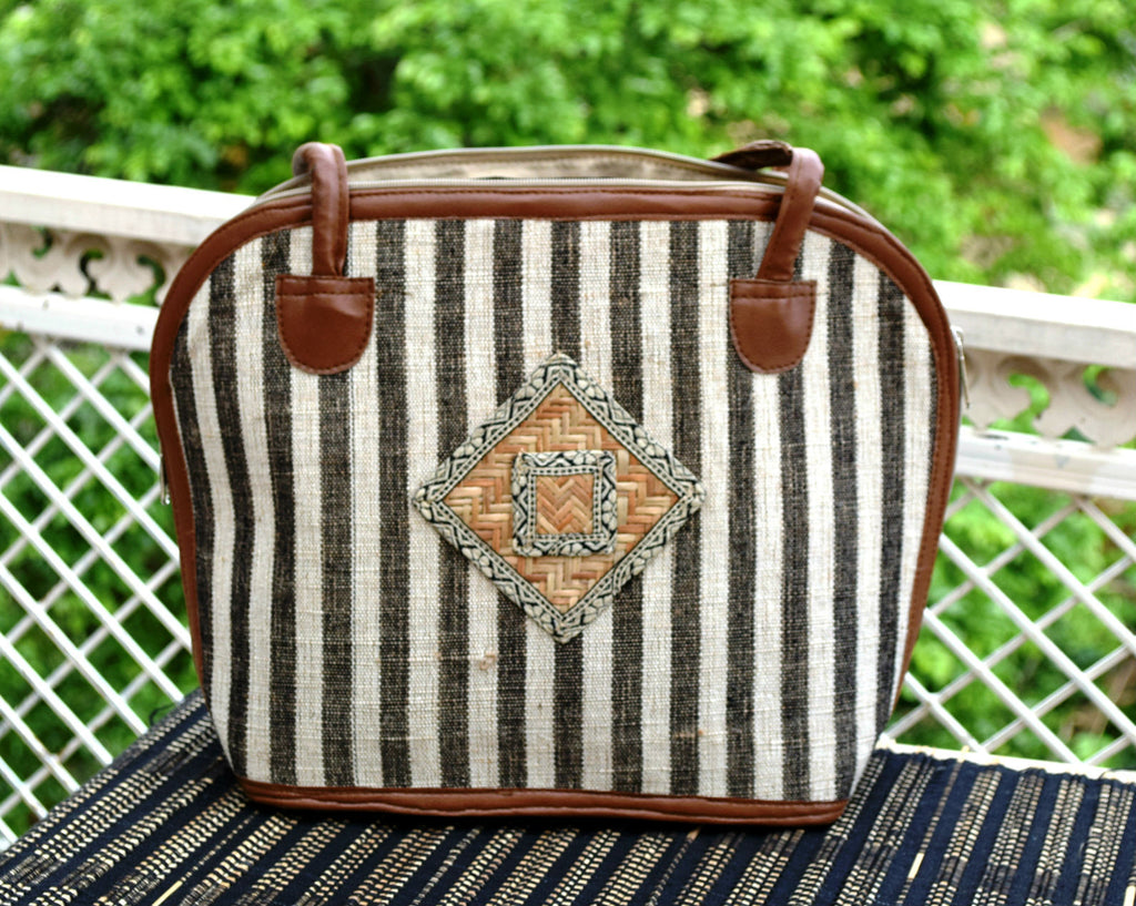 Striped Shoulder Handbag with Bamboo patch work
